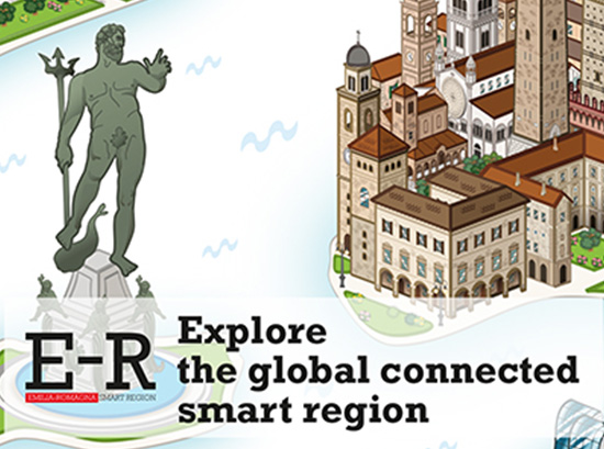 Disegno della statua del nettuno a Bologna e di una porzione di città storica icona del Progetto di Marketing e Comunicazione svolto per Regione Emilia Romagna
