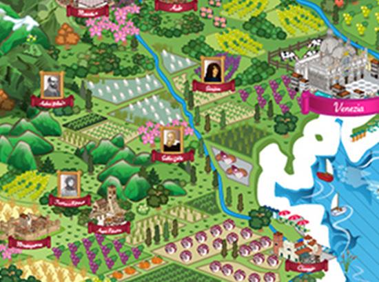 Porzione della mappa d'Italia con focus su zona Venezia ed entroterra con icone di autori famosi